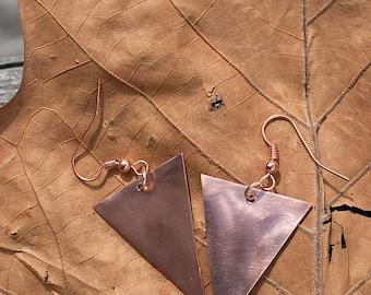 Copper Triangle Earrings