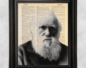 Charles Darwin, Dictionary Art Print, Printed on Vintage Dictionary Paper, Recycled, Upcycled,  8x10 Print (#146)