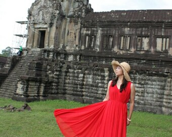 Red V neck  dress maxi dress  holiday dress Plus Size Bridesmaid Dress  Party Gifts Coast  Summer beach dress