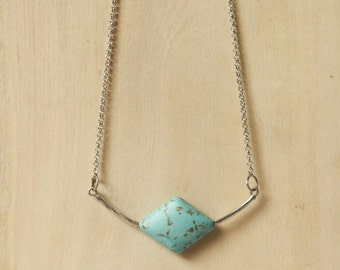 Minimalist Diamond shaped Turquoise Statement Necklace