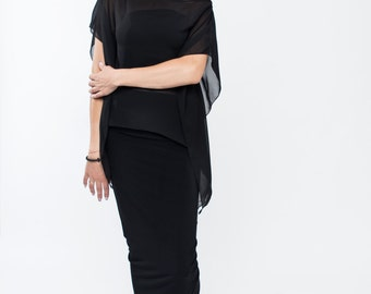 Made to order / Chiffon tunic / Sheer tunic / Chiffon kaftan / Sheer kaftan / Sheer top / Kimono sleeve / Loose top