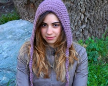 Handmade hoodies, crochet elf outfit, gnome costume, womens hat hood MP012