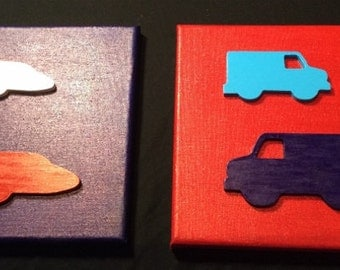 Children's 3D Truck and Airplane Wall Hanging Room Decor Handmade