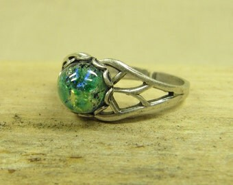 FOREST DRAGON ring silver plated with Harlequin cabochon green, natural forest Elf magic, adjustable