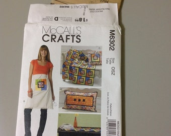 """McCall's Crafts M6302 """"Coasters, Apron, Runner, Pillows and Lap Quilt"""" by Jennifer Lokey 2011 UNCUT SALE - Buy One Get One Free"""