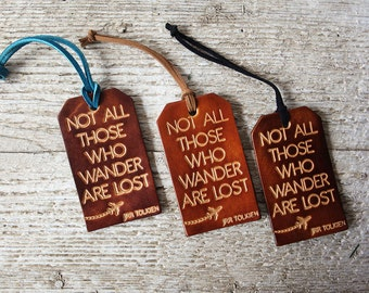 Unique Leather Luggage Tags Travel Gifts Not All Those Who Wander Are Lost