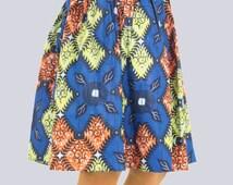African Print Skirt, Colourful Skirt, Batik Skirt, Casual Skirt, Knee-Length Skirt, Aline Skirt, Summer Skirt, Multi-Coloured Skirt,