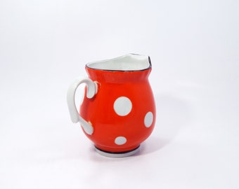 Soviet Milk Jug Porcelain Vintage Milk Jug Red Porcelain Milk Jug For Tea Party 1970's