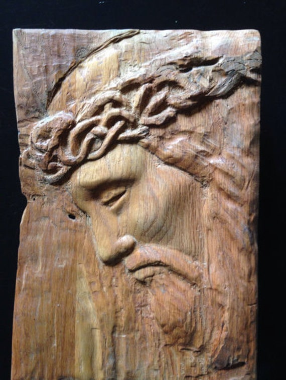 Items similar to jesus relief wood carving on etsy for Easy wood sculpture ideas
