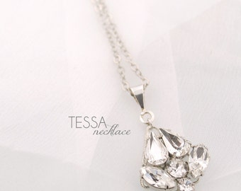 Crystal wedding pendant necklace - delicate filigree wedding pendant - Swarovski crystal bridesmaids necklace - silver - Tessa necklace