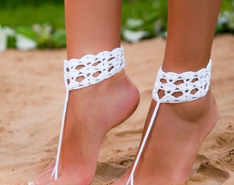 Crochet barefoot sandals-Barefoot sandals wedding-Wedding shoes-Beach wedding shoes-Bridal barefoot sandals-Bridal Accessory-Anklet-Toe ring