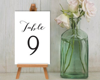 Wedding Reception Table Number DIY // Calligraphy Cards Guest Seating Sign Printable PDF // Numbers 1 to 20 ▷ Custom Printable