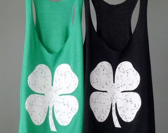 St. Patrick's Day Shamrock Womens Workout Tank Top. Exercise Tank. Lucky. Irish. Running Tank. Fitness shirt. Green Tank. Four Leaf Clover.