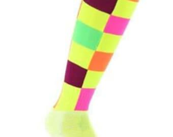 Samson® Check Illuminous Funky Socks Sport Knee High Sport Football Rugby Soccer