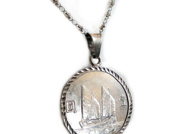 Vintage Silver Coin Pendant Necklace Sterling Chain - Rare Collectible Chinese Coin from 1934 Sailboat at Sea Chinese Characters - Unique