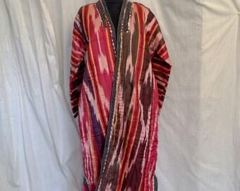 Vintage 1970's Uzbek Hand Woven Silk Ikat Kaftan Coat
