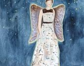 Guardian Angel Print of Original Oil Painting / Figure Woman Angel on Rooftop