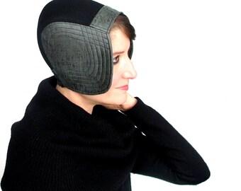Womens Aviator Cap Warm Winter Cloche Faux Leather Hat Custom Size Hat Modern Millinery Sleek Accessory Green Cloche Black Hat : Solstice
