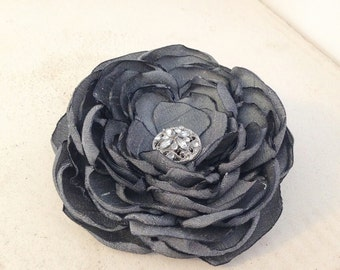 Charcoal Gray Flower Hair Clip.Gray Brooch.Gray Flower Pin.dark gray hair piece.charcoal grey hair accessory.grey.charcoal gray hair piece