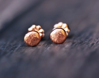 tiny golden pebble studs- rose gold dipped on sterling silver