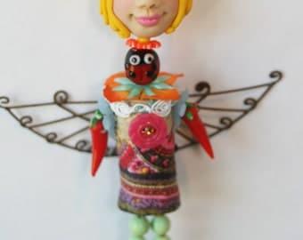 Wine Cork Art Doll Ornament Angel Fairy Chili Pepper Ladybug OOAK