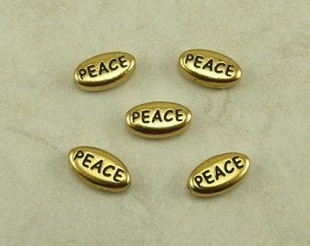 5 TierraCast Peace Word Beads * Sentiment Christmas World Feeling - 22kt Gold Plated LEAD FREE Pewter - I ship internatioanally - 5643