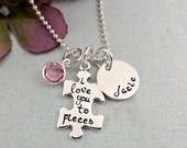 Personalized Necklace - I Love You to Pieces Puzzle Necklace - Name Birthstone Necklace - Mother's Jewelry - Gift for Mom - Sterling Silver