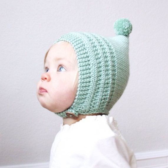 Knitting Pattern For Pixie Hat : Knit Baby Pixie Bonnet Merino Wool Pixie Hat Newborn Knit