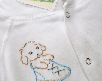 Puppy in Bootie - Hoodie Jacket Hand Embroidered - Vintage Style Baby Boy