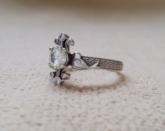 "Moissanite Diamond Nature Engagement Ring Birds Antique Vintage Flower 14K White Gold Art Deco Nouveau ""The Love Birds"""