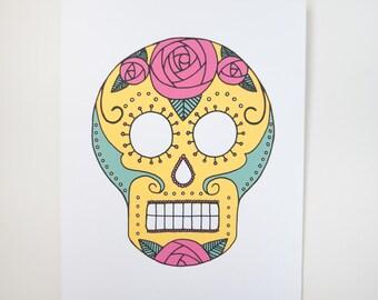 sugar skull art print silkscreen yellow