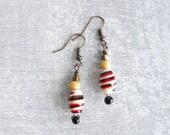 Vintage Glass Bead Earrings / Beaded Dangle Earrings / Small Drop Earrings / Handmade Eco Friendly Jewelry by Luluanne