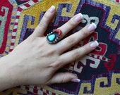 Vintage Native American Southwestern Ring Sterling silver, coral and  turquoise primitive tribal