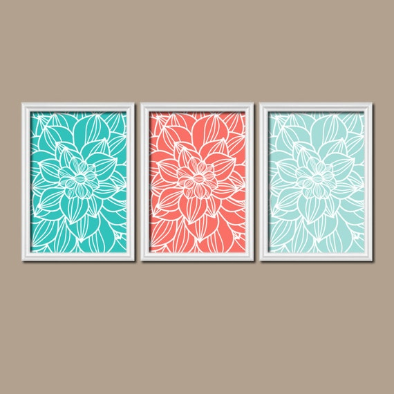 Coral Turquoise Bedroom Wall Art Canvas Or Prints By Trmdesign