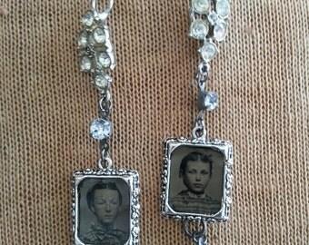 Family Wearlooms earrings: The Sisters #1, Tin Type Photo Dangle Assemblage earrings