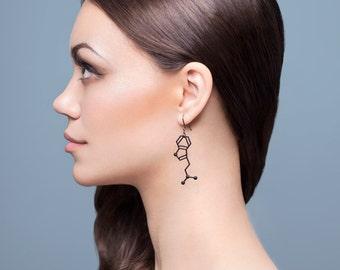 DMT Molecule Earrings - Matte Black