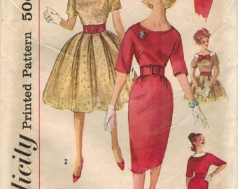 1960s Simplicity 3536 Vintage Sewing Pattern Misses Party Dress, Sheath, Formal Dress Size 14 Bust 34