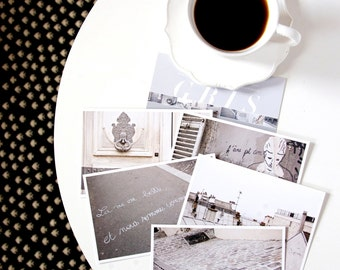Paris Postcard Set, Gray Travel Postcards 4x6 Art Print, Modern Urban, Paris Print, Girlfriend Gift for Her, Stocking Stuffer