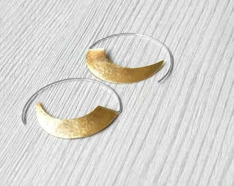 Textured Brass Hoop Earrings - brass earrings, silver hoop earrings, gold earrings, geometric earrings, tribal earrings, made in Italy