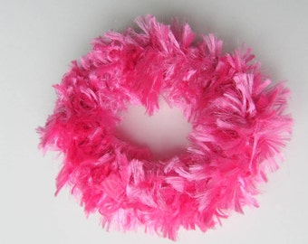 Hair Scrunchies. Set of 2 Hot Pink Scrunchies, Crochet Scrunchies, Girls  Ponytail Holders, Hair Accessories,  Ready  to Ship