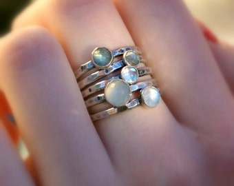 Moons of Pluto...Set of Five Stacking Rings in Sterling Silver with Labradorite and Moonstone