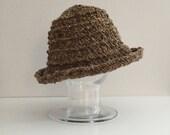 Brown wool tweed cloche hat - brown knit hat