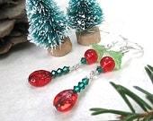 Red & Green Christmas Earrings Ladybugs, Extra Long Dangles, Boho Holiday Jewelry