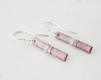 Wire Wrapped Bar Earrings - Pink Blush Earrings - Pastel Pink Earrings - Summer Jewelry - Romantic Gift - Enamel Earrings - Jewelry Gift