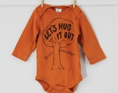 Treehugger long sleeve bodysuit Let's hug it out organic cotton baby clothes screen printed tree