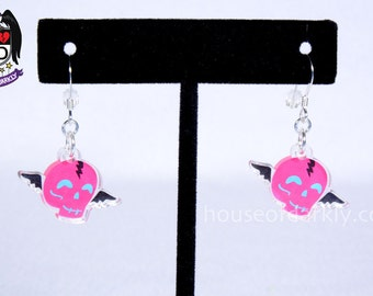 Flying Skully hot pink winged skull acrylic earrings for the slightly scary nickel free