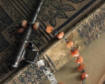 The Nova Bracelet. Handwired Oxidized Sterling Silver Sunstone and Rose Quartz Bracelet.