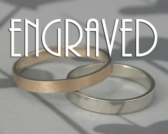 Custom Engraved 3mm Flat Edge Wedding Band--Your choice of ONE in Solid 14K Yellow, White, or Rose Gold--Custom made in YOUR size