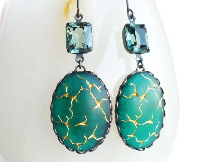 Frosted Emerald Earrings Vintage Matte Green Earrings Gold Crackle Dangle Emerald Green Glass Earrings Green Statement Jewelry