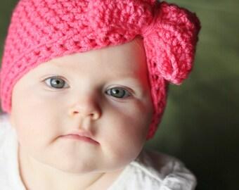 Bow Hat, Baby girl hat, Hat with bow, Newborn hat, Baby hat, photo prop, winter hat, birthday hat, baby gift, baby shower, nicu hat, crochet